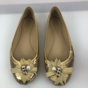 Coach Abagale Gold Sequined Charm Ballet Flats